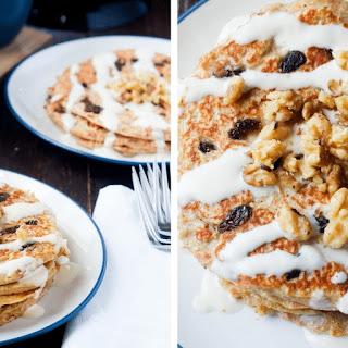 Carrot Cake Greek Yogurt Pancakes.