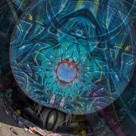 Beauty in desolation  by Paul Gibson - Digital Art Things ( phoenix, arizona, pattern, graffiti, heart, tires )
