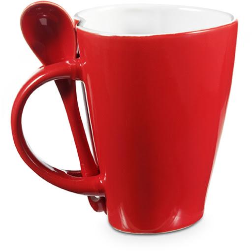 Heart Shaped Coffee Mug & Spoon Set Red