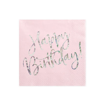 Servetter - Happy birthday, puderrosa