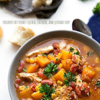 Crockpot Butternut Squash, Chicken, and Quinoa Soup.