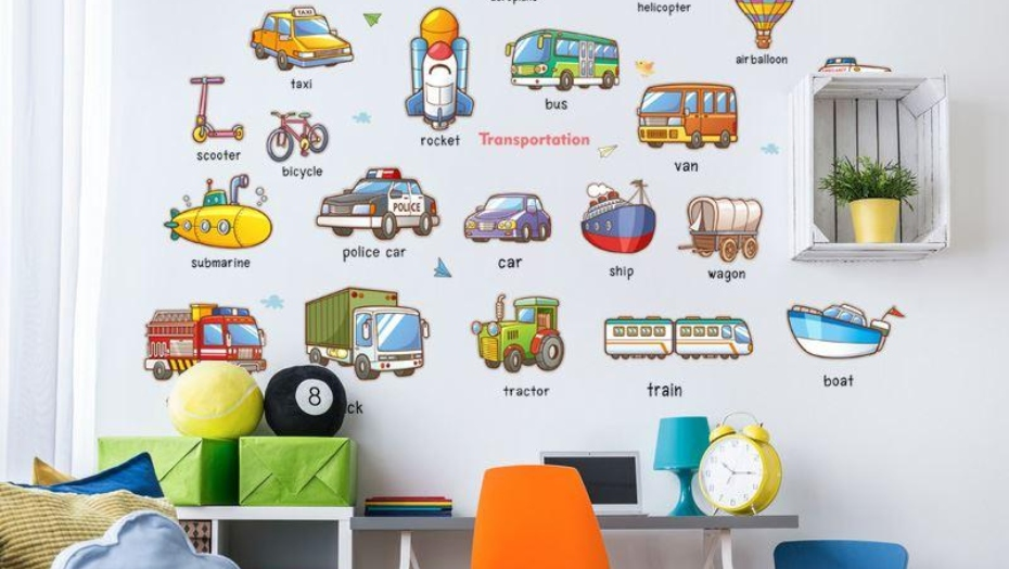 educational wall decals vehicles