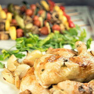 Roasted Chicken Legs With Vegetable Kabobs