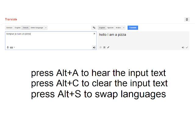 Google Translate Keyboard Shortcuts