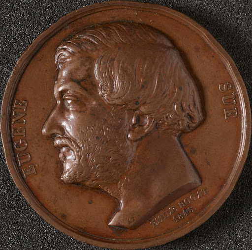 Copper medal, commemorates E. Sue, artist Rogat, m