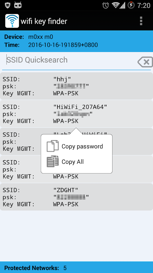 WiFi Key Finder (Root)- screenshot