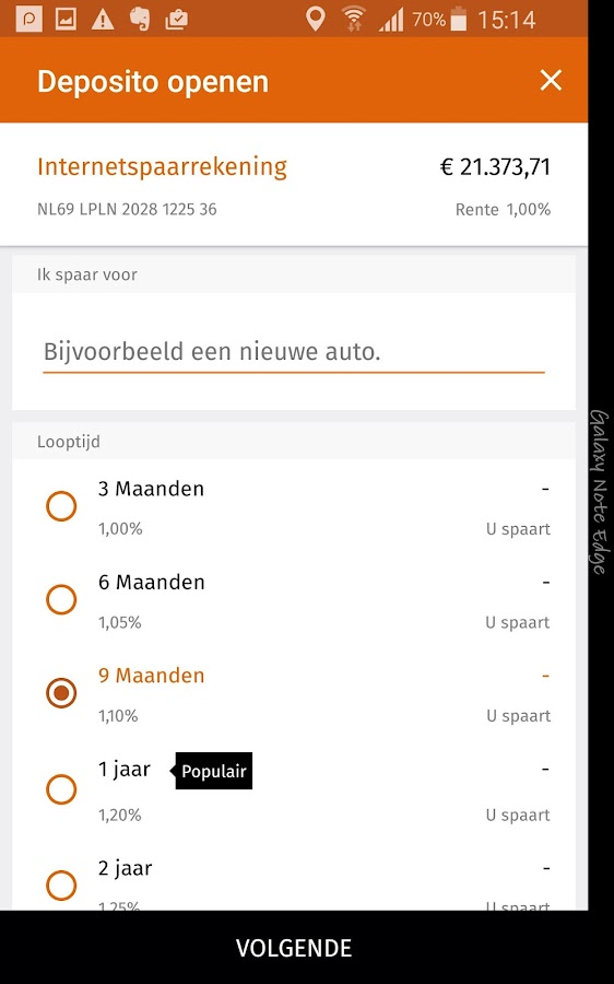LeasePlan Bank Sparen- screenshot