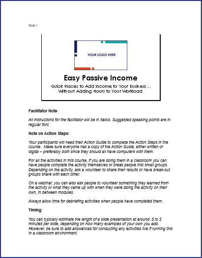 EasyPassive Income - Speaker Notes