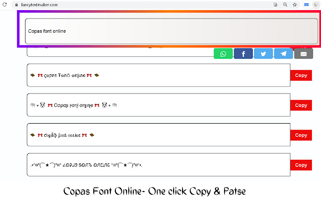 Copas Font Online-simple ✂️ Copy & Paste 📋