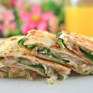 White Bean, Goat Cheese, Bacon, Spinach, Avocado, & Caramelized Onion Quesadillas