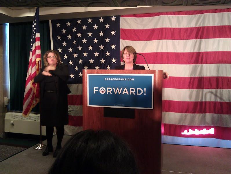 Photo: Interpreter Jody with Senator Klobuchar.