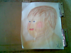 Photo: Sketch only, baby in pan pastels, on my drawing board, 2007@Denver Co 80203