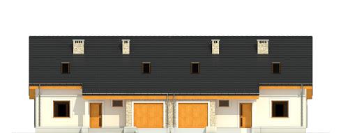 Alka z garażem 1-st. bliźniak A-BL1 - Elewacja przednia
