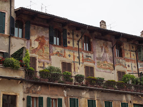 Photo: Beautiful medieval frescoes of Piazza Erbe. Verona is such an elegant town.