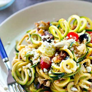 Sun-Dried Tomato Mediterranean Zucchini Noodle Salad.