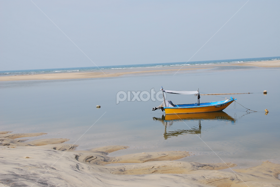 Off Duty by Azzah Rahman - Artistic Objects Still Life ( lagoon, terengganu, pwcstilllife, boat, fisherman )