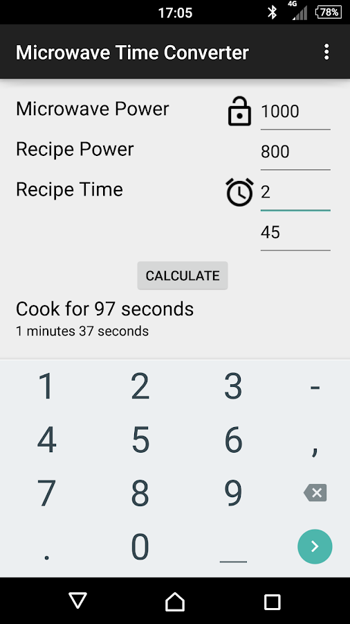 Microwave Power Time Converter Android Apps On Google Play