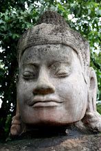 Photo: Year 2 Day 44 -  One of the Heads at the South Gate Entrance to Angkor Thom