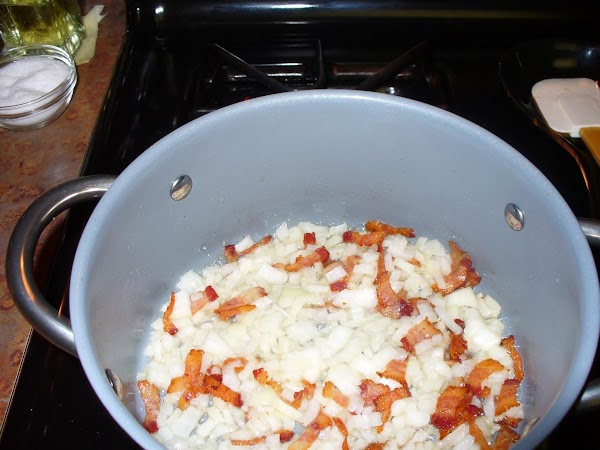 Dice onion and add to pan with bacon and fat. Saute lightly until onions...