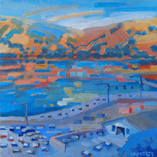 "Photo: ""Benicia Waterfront"", oil on wood panel 8"" x 8"", © Nancy Roberts"