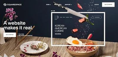 Squarespace homepage displaying start your free trial no credit card required button