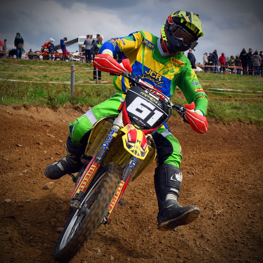 Watch Out! by Marco Bertamé - Sports & Fitness Motorsports ( curve, watch out, turn, inclined, bike, motocross, colorful, green, motorcycle, yellow, race, competition,  )