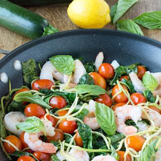 Wilted Kale Shrimp Zucchini Noodle Salad
