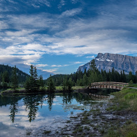 Morning walk in Banff by Ron Biedenbach - Landscapes Prairies, Meadows & Fields ( clouds, reflection, mountains, sky, canada, park, lake, banff )
