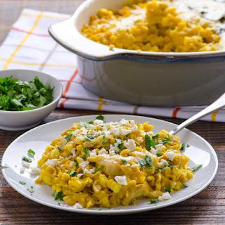 Garlicky Corn Chowder & Chicken Pasta Bake