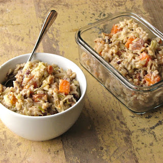 Warm Brown Rice, Sweet Potato and Roasted Cabbage Salad with Tahini Yogurt Dressing