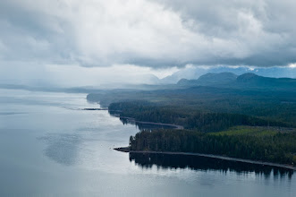 Photo: Coastline at Bella Bella, where our adventure began. The rain in the distance seemed an ominous sign.