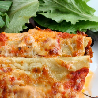 Red and White Beef Manicotti