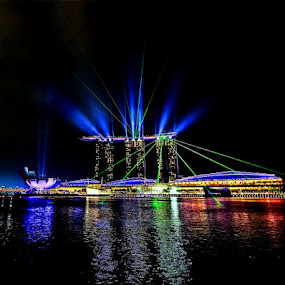 Light show @ Marina Bay Sands by Sigit Setiawan - City,  Street & Park  Vistas