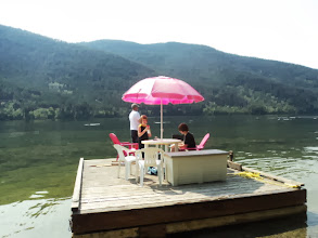 Photo: Sunday morning. Cole and Brendan and Todd are going fishing;Dave and Dawson hang out at the cabin and Paula and Carmen are going to hike to the top of the rock. The fishermen floated us over to the base first.