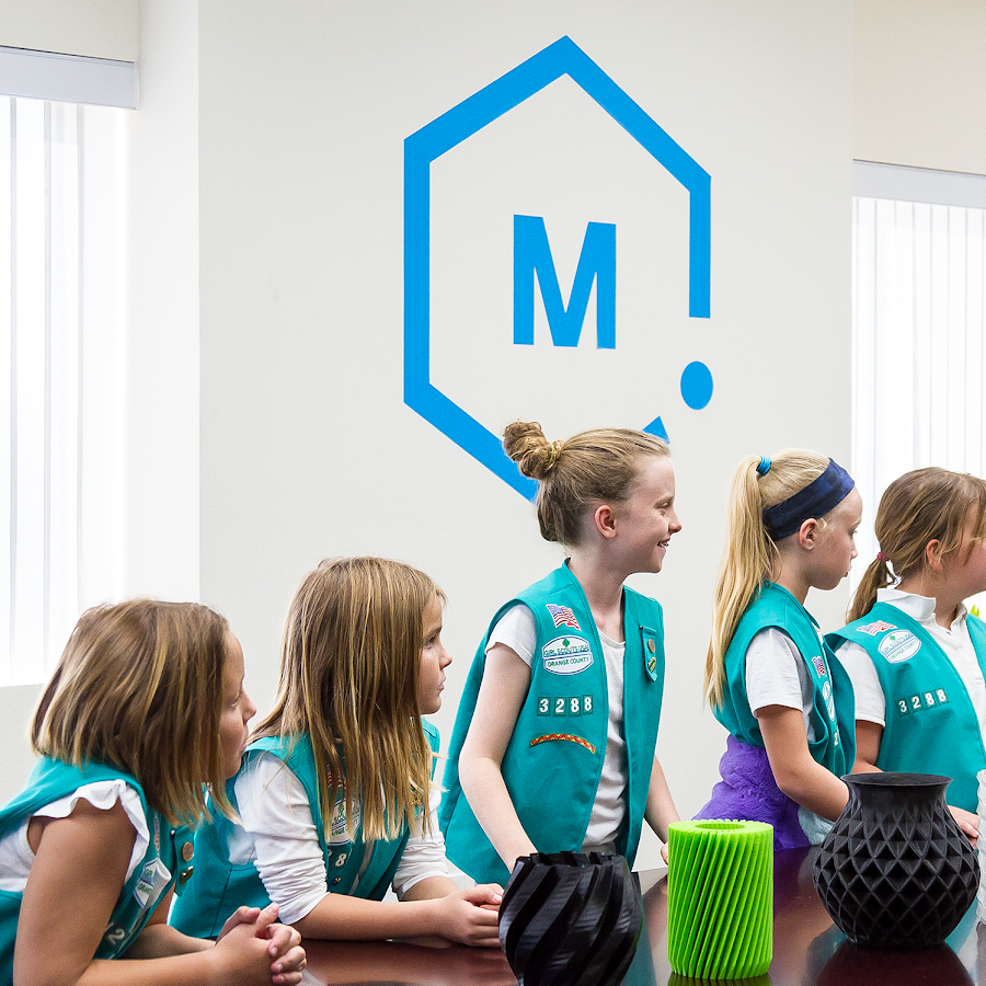Girl Scouts at MH HQ Learning About 3D Printing and Design