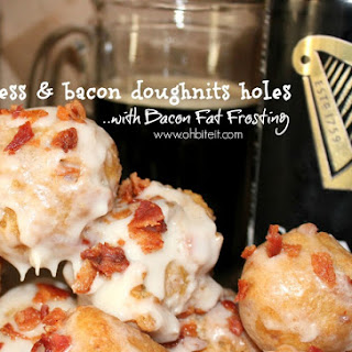 ~Guinness & Bacon Doughnut Holes..with Bacon Fat Frosting!