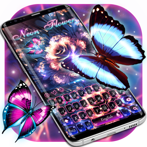Neon flower butterfly keyboard theme
