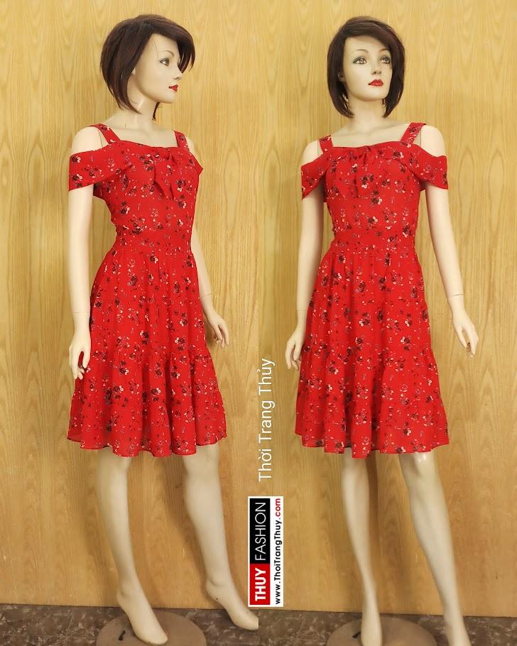 Váy xòe hai dây hở vai hoa nhí màu đỏ V685 thời trang thủy hồ chí minh
