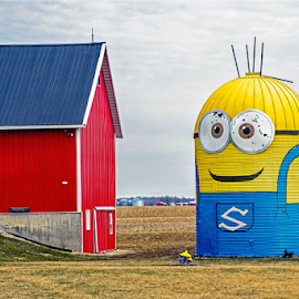 by Pam Satterfield Manning - Buildings & Architecture Architectural Detail ( character, blue, barn, architectural detail, buildings, letter, yellow, minion, eyes, building, landscape, architecture,  )