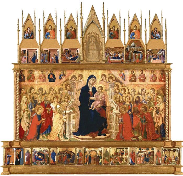 Duccio di Buoninsegna, Maestà, 1308–1311, Tempera and gold on wood, 213 cm × 396 cm, Museo dell'Opera Metropolitana del Duomo, Siena