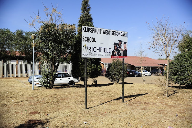 Klipspruit West Secondary in Soweto, South Africa. Schools around Eldorado Park, south of Johannesburg were shut down in solidarity with Klipspruit West Secondary School, which prevented pupils from attending after the appointment of a black principal. Picture: THULANI MBELE