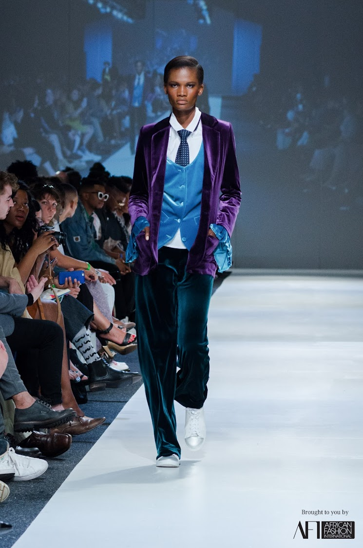 Jenny le Roux from Habits showed head-to-toe velvet smoking suits