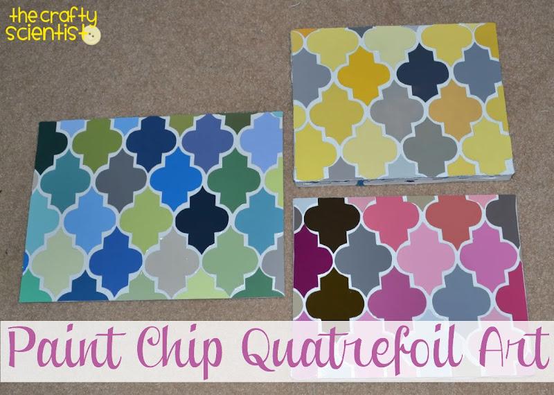 Photo: Paint chip quatrefoil art tutorial here: http://www.thecraftyscientist.com/2011/10/paint-chip-quatrefoil-art.html.