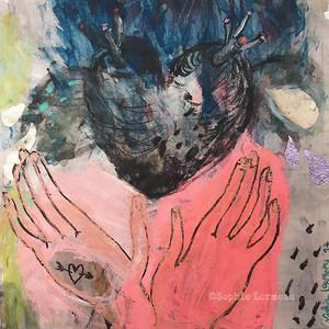 coeur-cœur-heart-declaration-amour-amoureux-hand-mains-in-love-lovers-couleurs-pastel-acrylic-sophielormeau-lormeau-artiste-peinture-french-artist-art-tableau-paper-magazine-colorful-naif-naiv