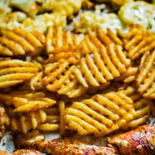 Sheet Pan Parmesan Chicken Cauliflower and Fries Recipe