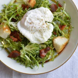 Salade Lyonnaise (poached egg and bacon salad).