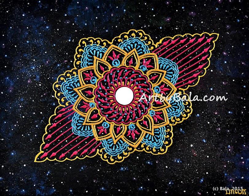 Henna style acrylic nebula painting