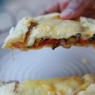 Garlicky Mushroom Cheese Galettes with Caramelised Onions and Peppers Recipe
