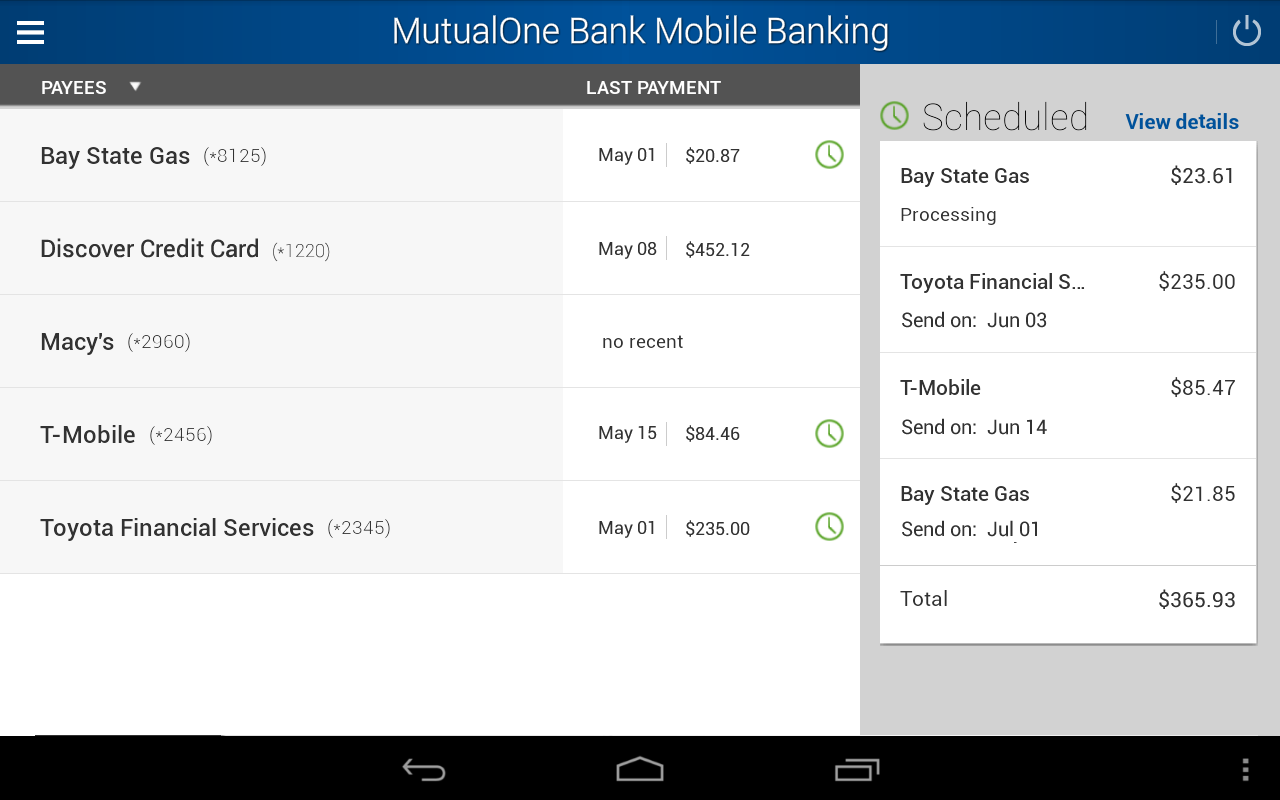 MutualOne Bank Mobile Banking- screenshot