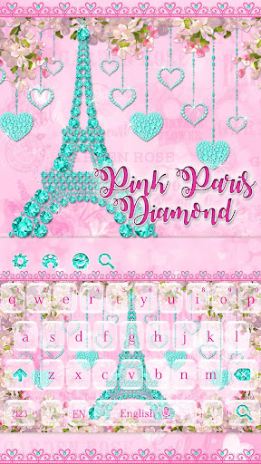 Diamond Eiffel Tower Pink Paris Keyboard  screenshots 3